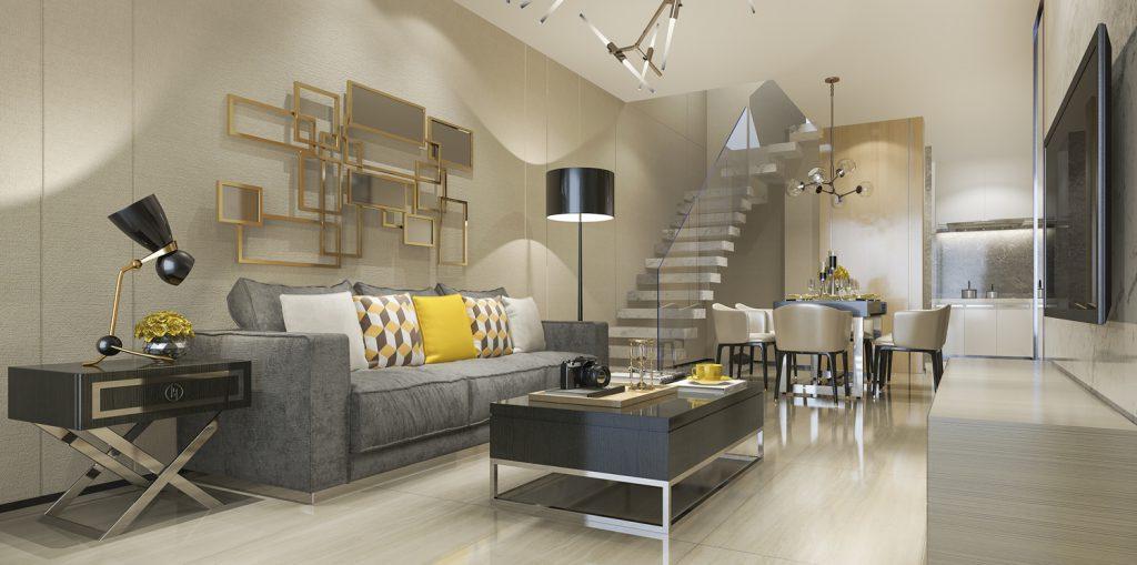 Szklane nowoczesne schody w przestronnym salonie