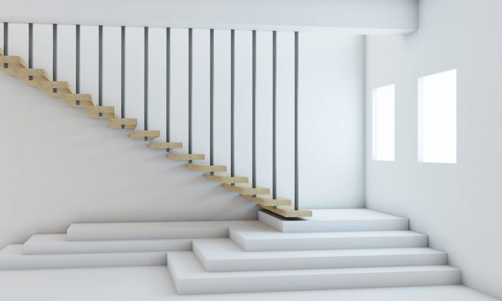 Przykład na schody nowoczesne w minimalistycznym wnętrzu